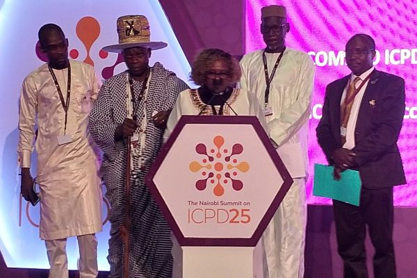 Rev Dr Mwaniki reads faith statement at ICPD25 Nairobi Summit